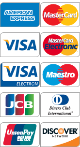 Visa, Mastercard, American Express, Diners Club, JCB, UnionPay, Discover